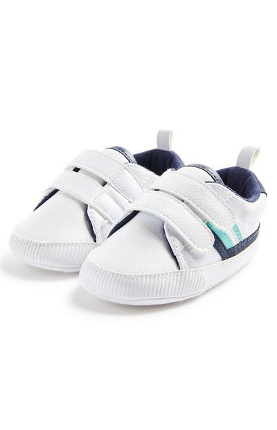 White Baby Boy Faux Pu Leather Lowtop Trainers