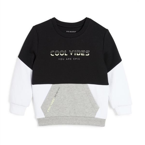 Younger Boy Colorblock Slogan Pullover Sweater