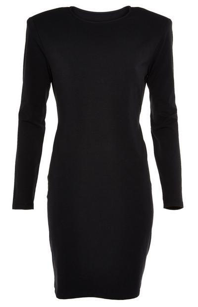Black Longsleeved Padded Shoulder Knee Length Dress