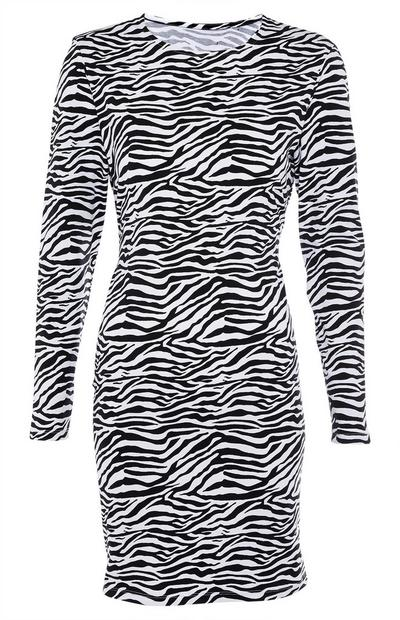 Zebra Print Long Sleeve Padded Shoulder Dress