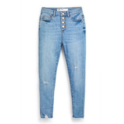 Older Girl Blue Denim Button Up Jeans