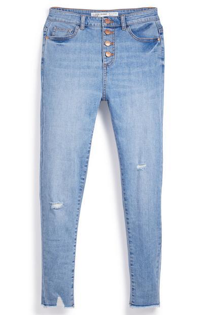 Jeans slim blu con bottoni da ragazza
