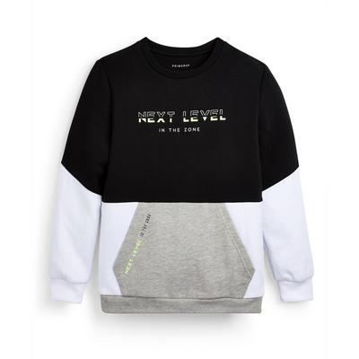 Suéter de cuello redondo tricolor para niño mayor