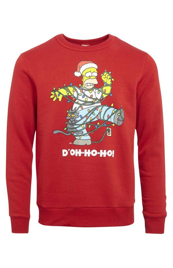 Rdeč božični pulover z okroglim ovratnikom Simpsonovi