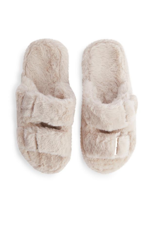Cream Double Buckle Faux Fur Slides