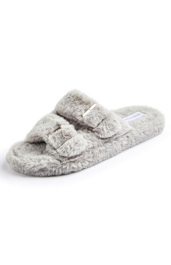 Grey Faux Fur Double Buckle Slide On Slippers