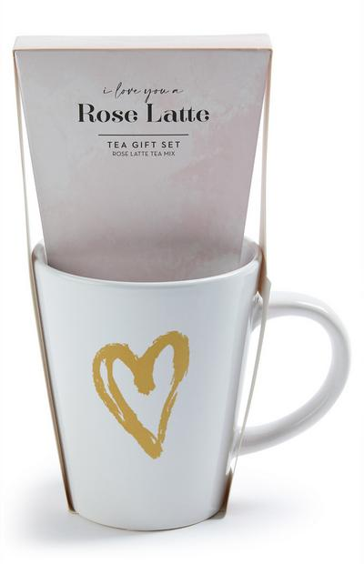 Rose Latte Tea And Mug Gift Set