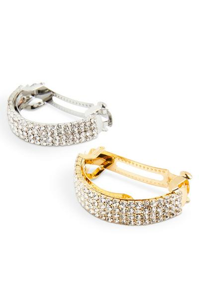 Lot de 2 barrettes à strass