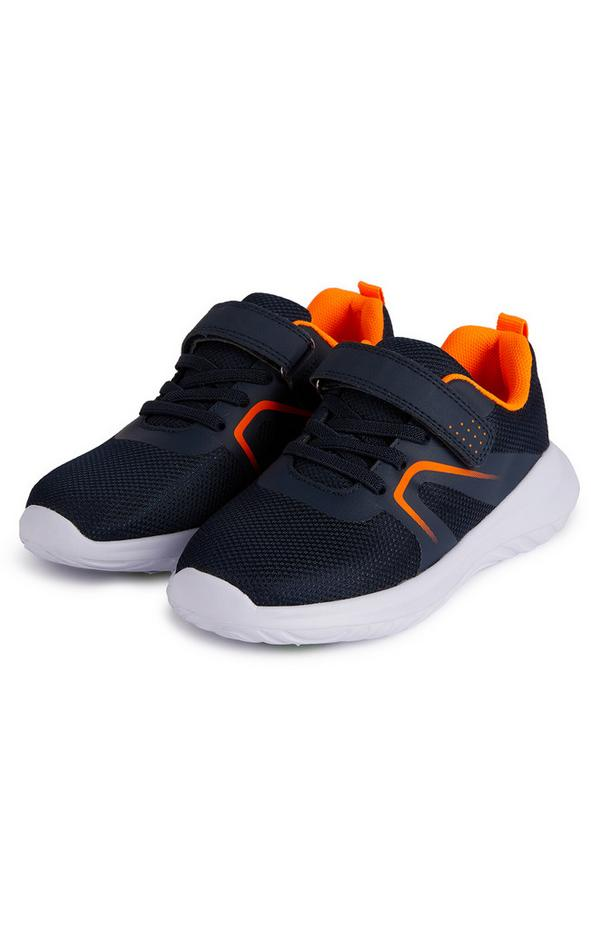 Younger Boy Navy And Orange Phylon Sole Sneakers
