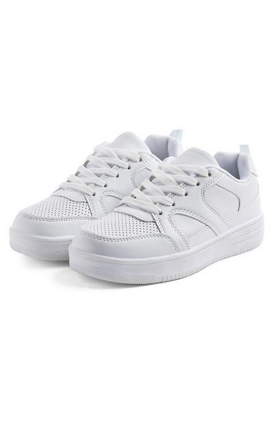 Baskets blanches à semelle épaisse ado