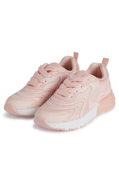 Younger Girl Blush Pink Wave Embossed Phylon Sole Trainers