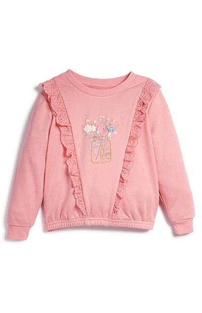 Younger Girl Pink Floral Frill Crew Neck Sweater