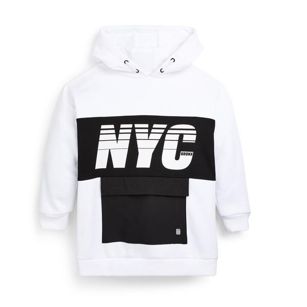 """Weißer """" NYC"""" Kapuzenpullover mit gewebtem Einsatz (Teeny Boys)"""