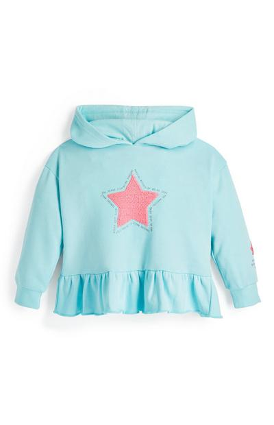 Younger Girl Blue Star Sequin Hoodie