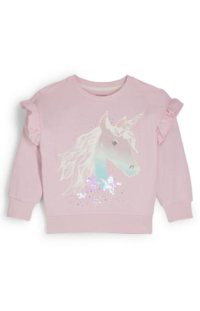 Sweat-shirt ras du cou rose à motif licorne et volants fille