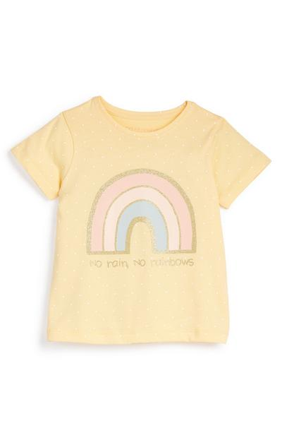 T-shirt jaune à message et motif arc-en-ciel fille