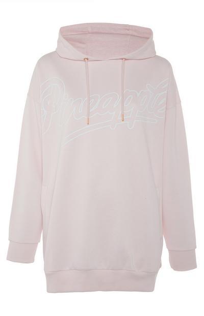 Felpa rosa confetto con cappuccio lunga Pineapple