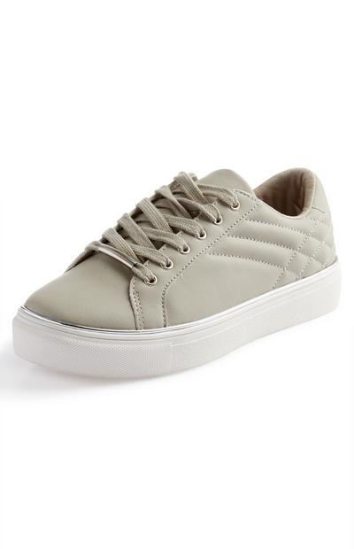 Khaki Green Quilted Metal Detail Trainers