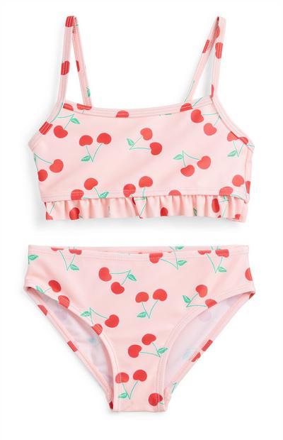 Younger Girl Pink Cherry Print Bikini