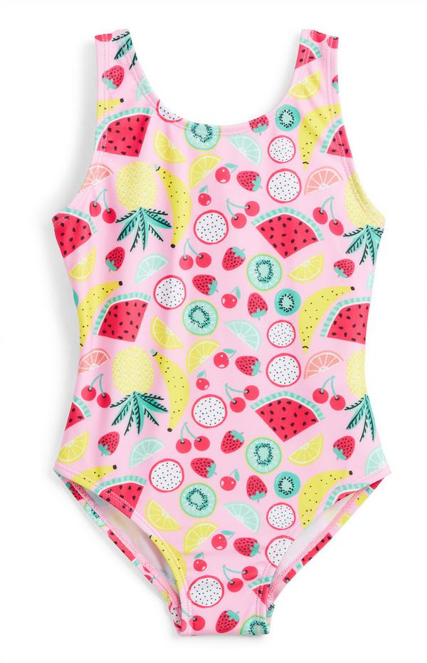Younger Girl Pink Watermelon Print Swimsuit