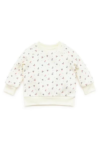 Baby Girl Cream Print Crew Neck Sweater