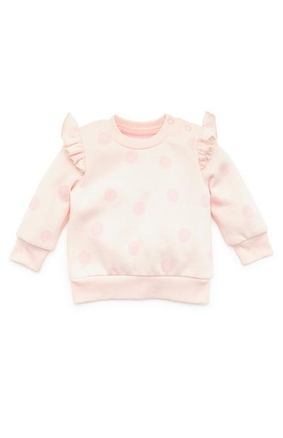 Baby Girl Pink Dot Print Crew Neck Sweater