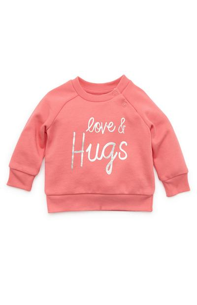 Sweat-shirt corail ras du cou avec motif Love And Hugs bébé fille
