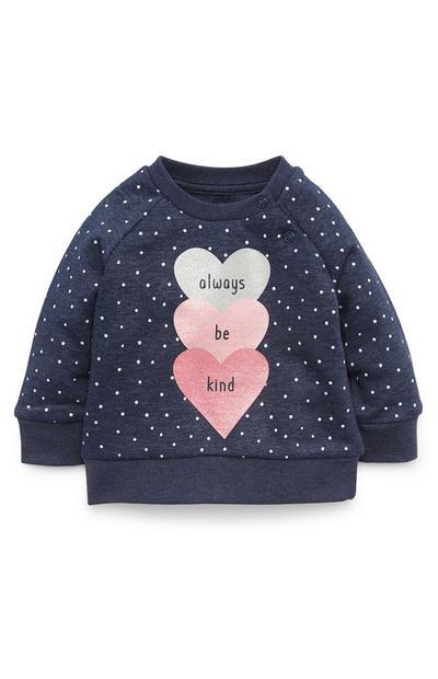 Baby Girl Navy Heart Print Crew Neck Sweatshirt