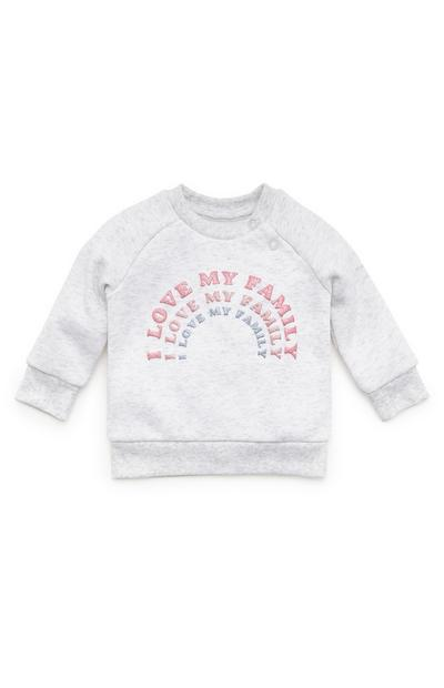 Baby Girl Light Grey Love My Family Print Crew Neck Sweater