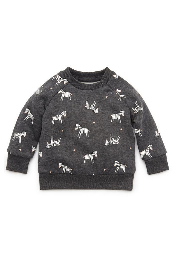 Anthrazitfarbener Rundhalspullover mit Zebra-Print für Babys (M)
