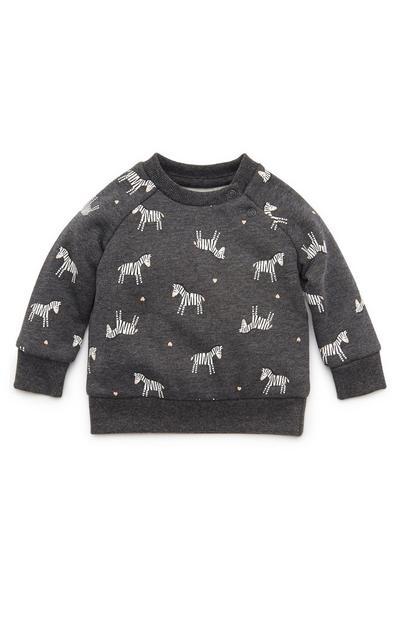 Temno siv dekliški pulover z okroglim ovratnikom in potiskom zeber za dojenčke