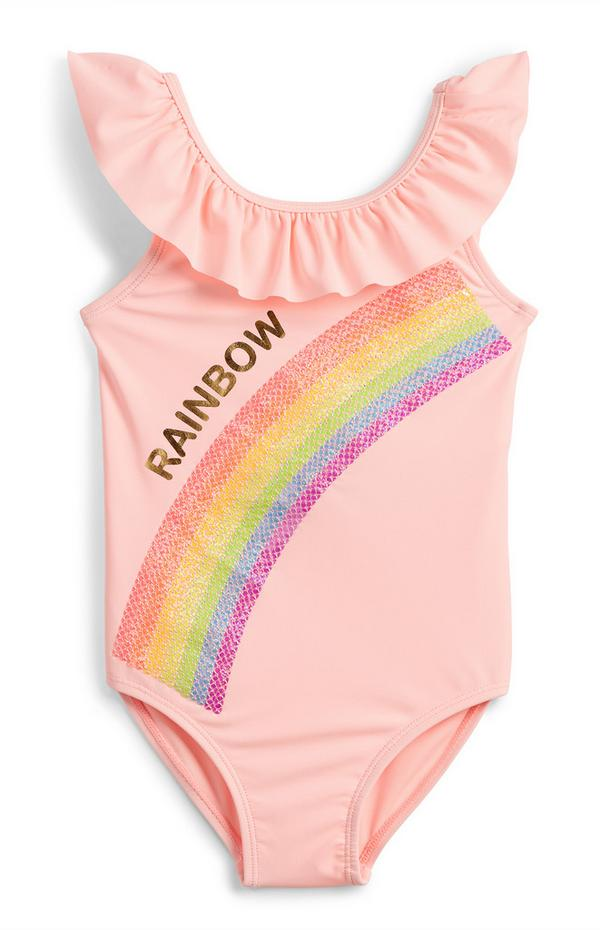 Younger Girl Pink Sequin Rainbow Swimsuit