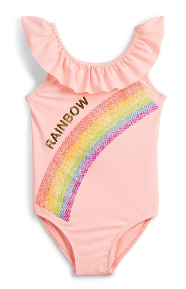 Roze badpak met regenboog van pailletten voor meisjes