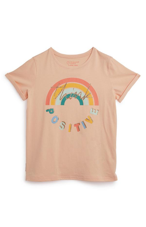 """Think Positive"" T-Shirt in Pfirsich (Teeny Girls)"