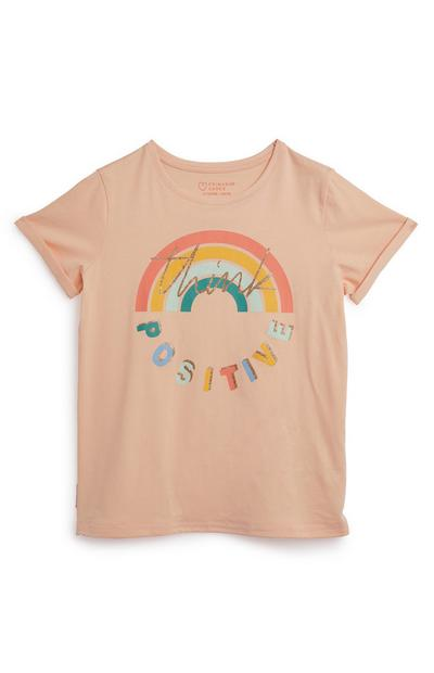 Older Girls Think Positive Slogan Peach T-Shirt