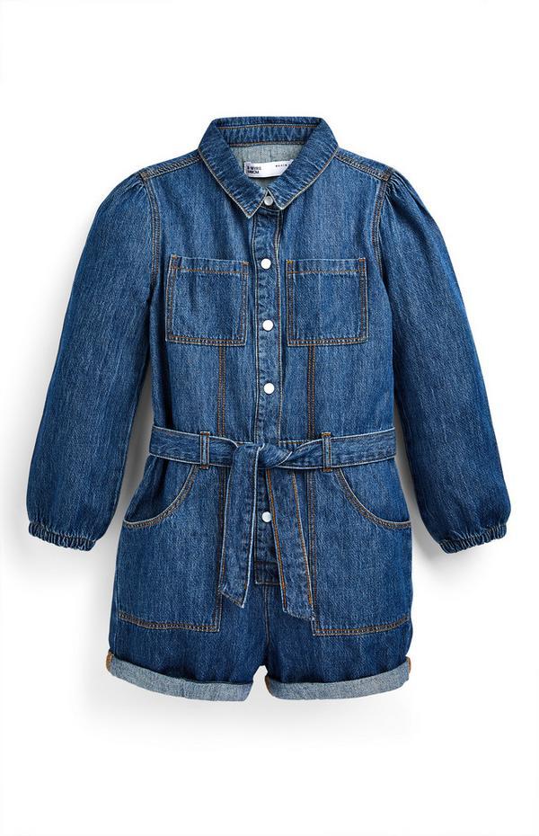 Blauwe overall van spijkerstof met trekkoord in taille voor meisjes