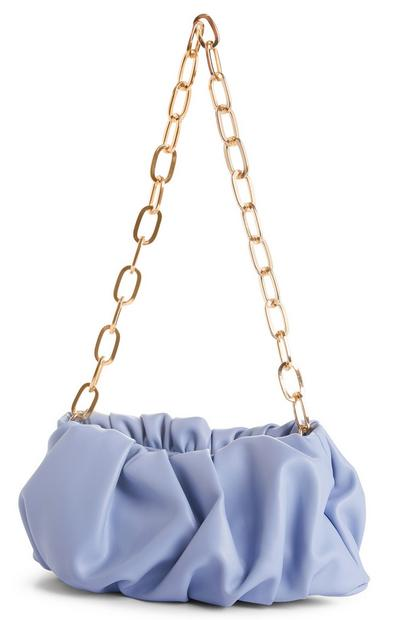 Blue Goldtone Chain Volume Pouch Bag