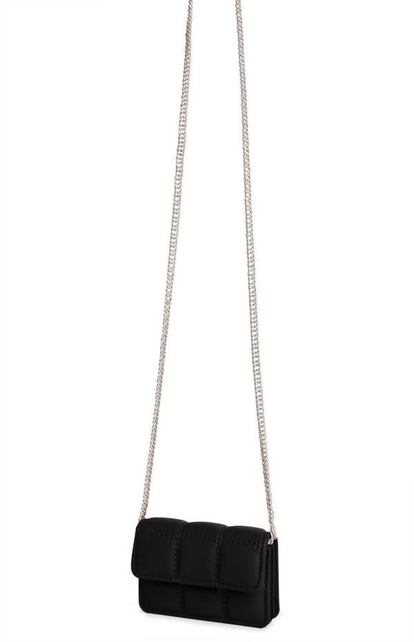 Black Grid Quilted Crossbody Cardholder Bag