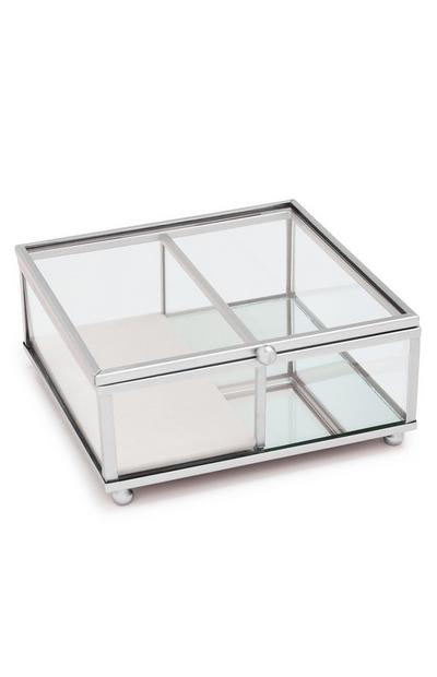 Small Glass Silver-Tone Jewellery Box