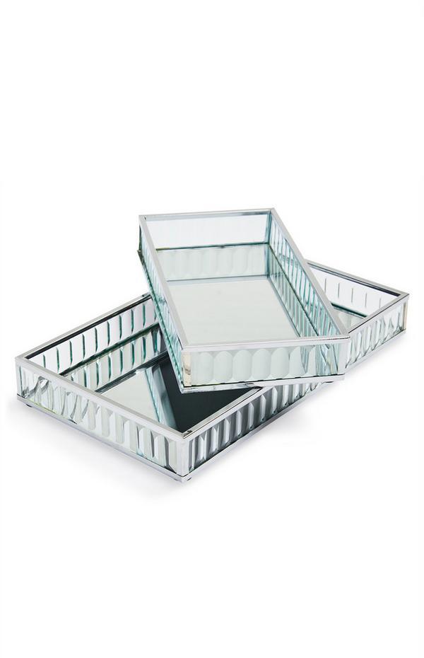 Geribde dienbladen met spiegelglas, set van 2