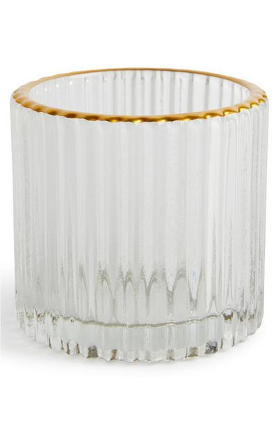 Fluted Glass Gold Rimmed Tealight Holder