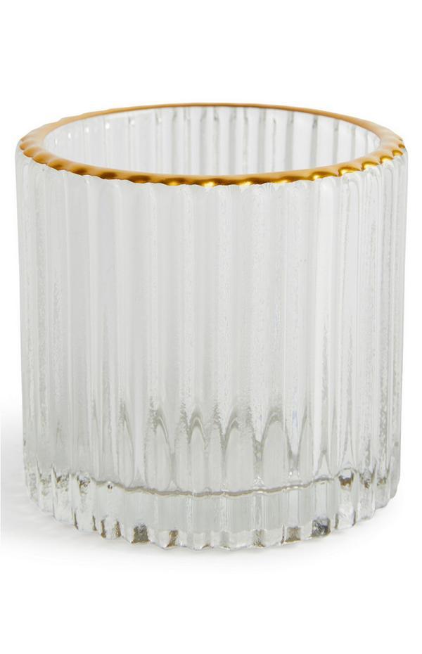 Fluted Glass Gold Rimmed Tealight Holder