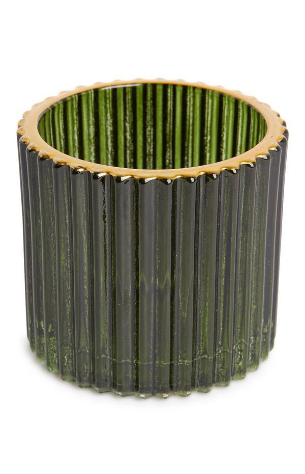 Groene glazen theelichthouder met ribbels