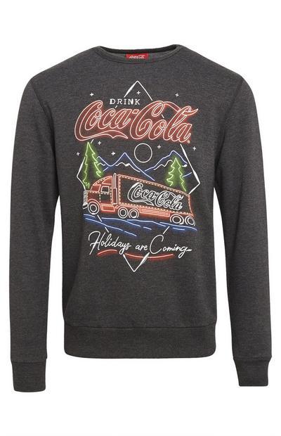 """Anthrazitfarbener """"Coca Cola"""" Weihnachtspullover mit Rundhalsausschnitt"""
