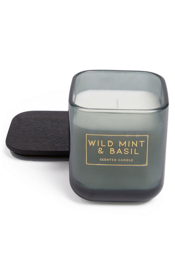 """Große, quadratische """"Wild Mint And Basil"""" Kerze mit Deckel"""