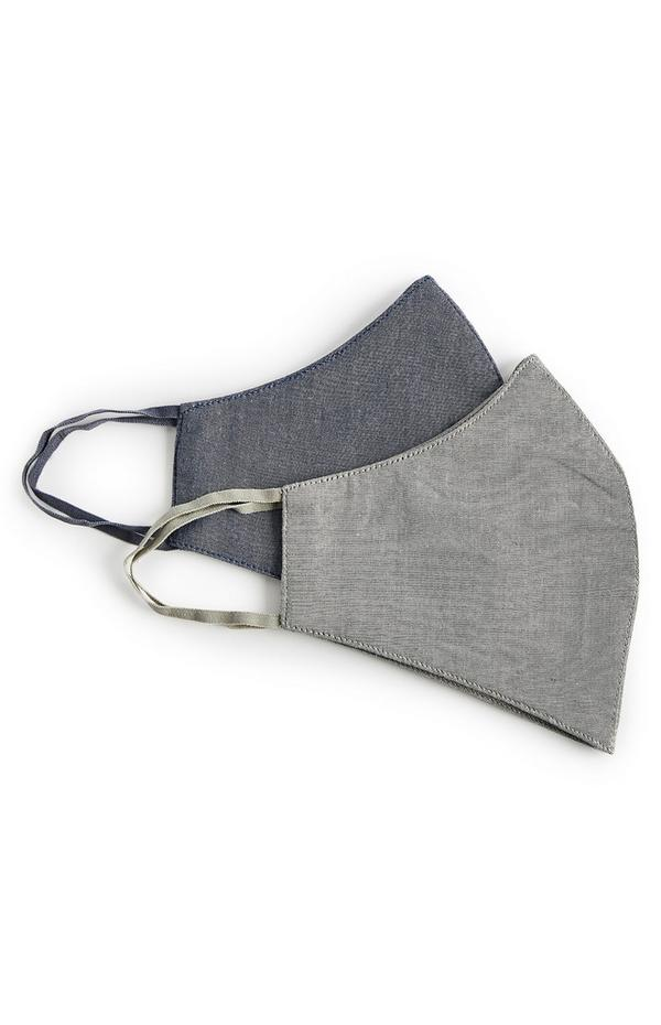 Grey Chambray Face Masks 2 Pack
