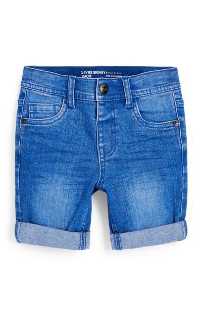 Korte blauwe, skinny spijkerbroek voor jongens