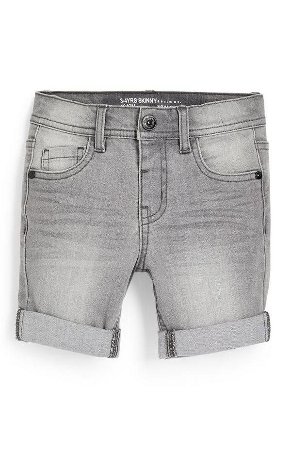 Younger Boy Grey Denim Skinny Shorts