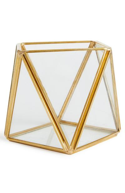 Gold-Tone And Glass Geometric Tealight Holder