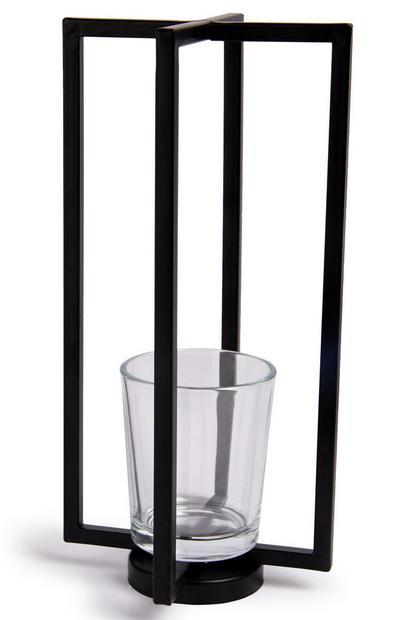 Geometrischer, hoher Teelichthalter aus Metall in Schwarz